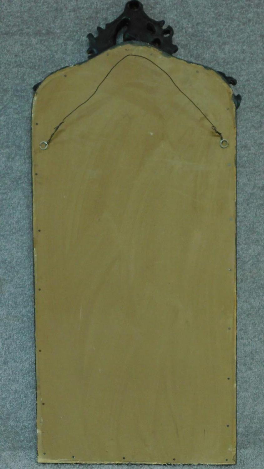 A rococo style gilt and ebonised pier mirror. 115x52cm - Image 4 of 4