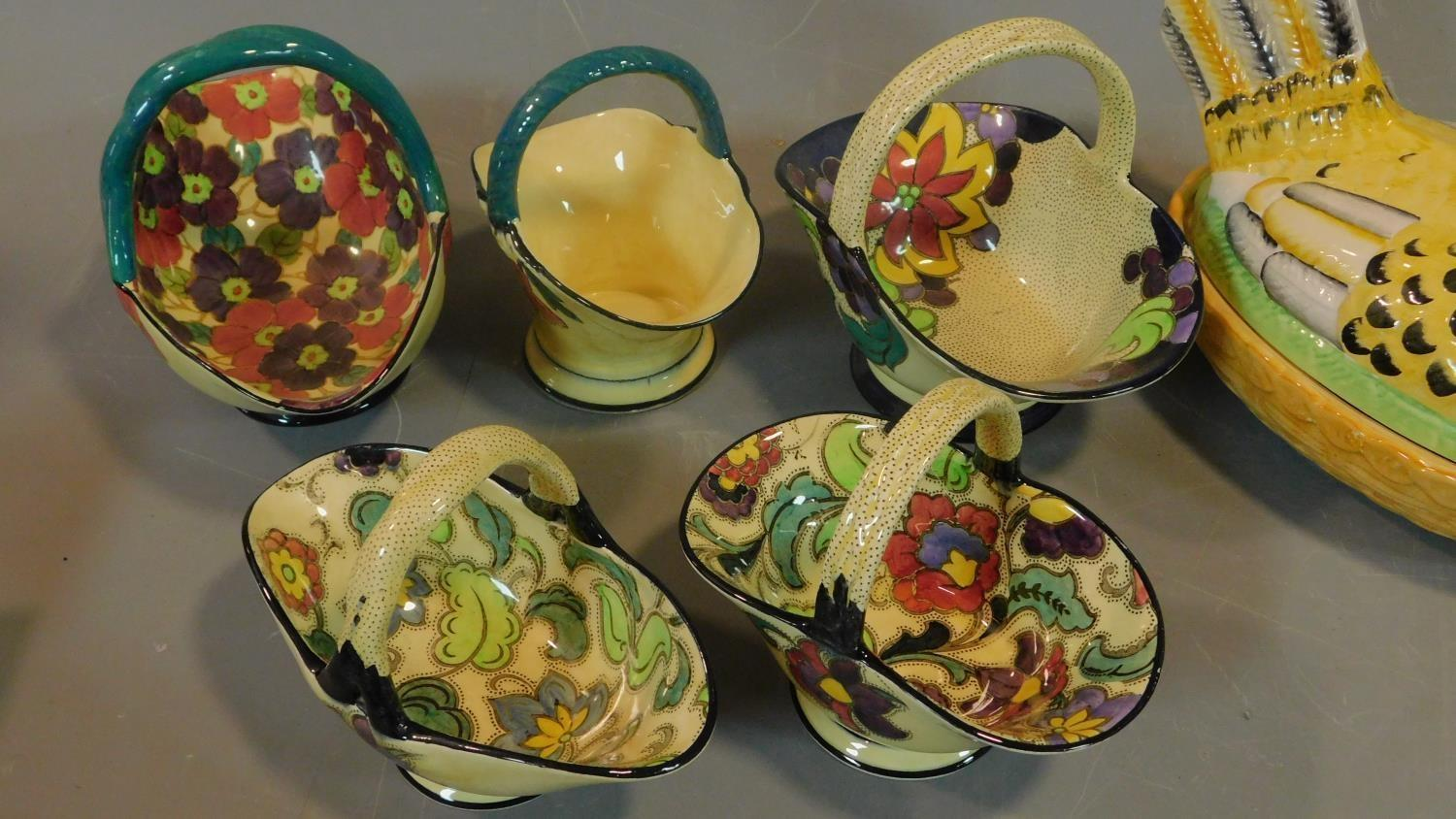 A collection of Art Deco Tuscan Decoro pottery baskets and other ceramic items. - Image 2 of 8