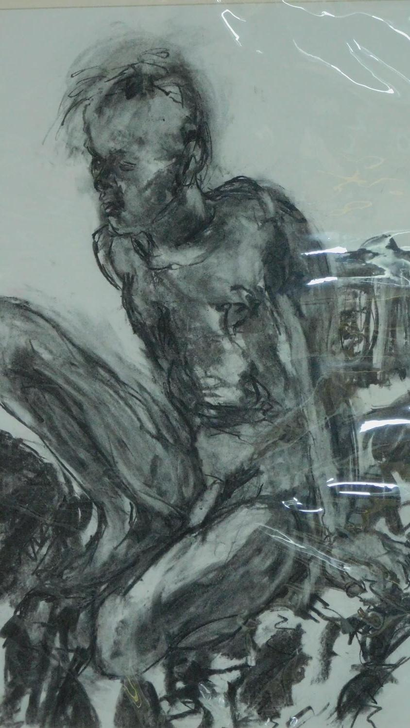 Two unframed mounted charcoal sketches, nude studies, monogrammed G H - 90x70 (largest) - Image 3 of 4