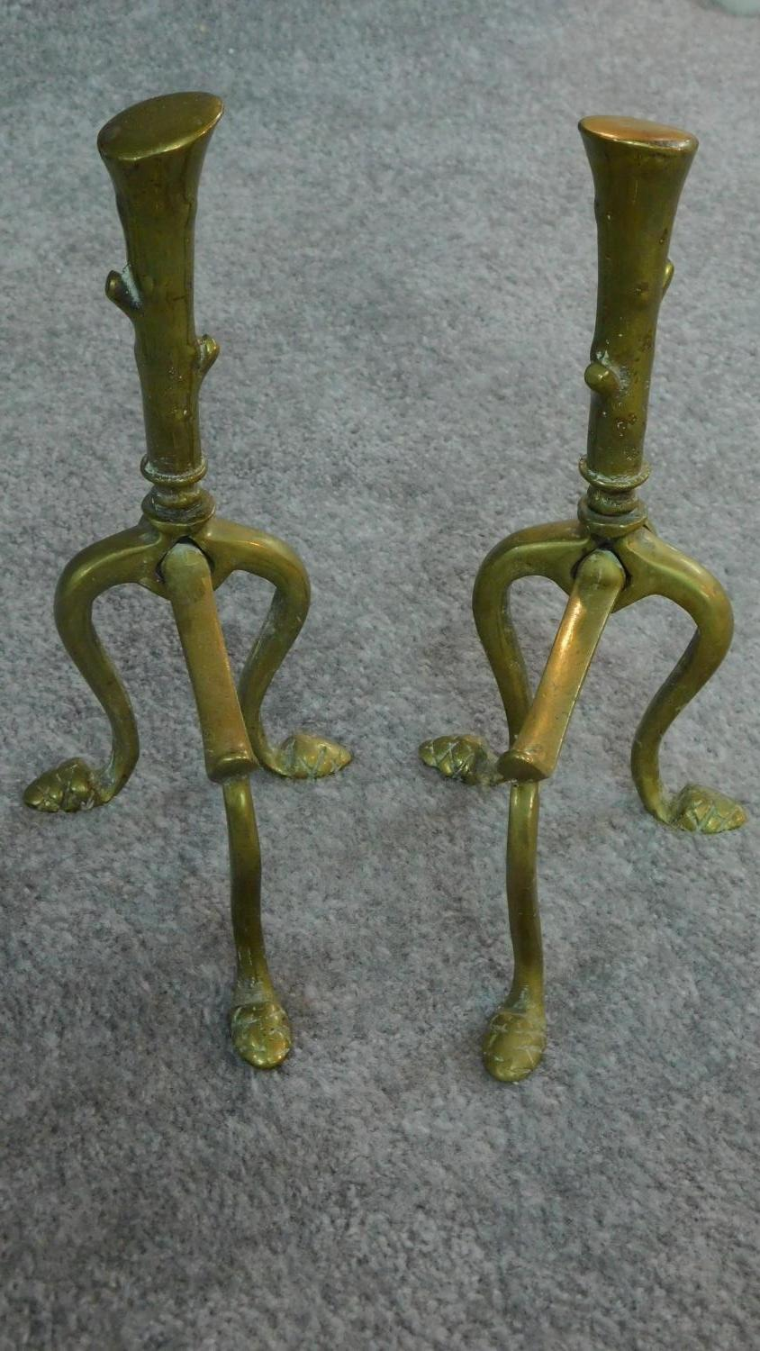 A set of 19th century brass fire implements and the matching andirons and a three section fireguard. - Image 2 of 6
