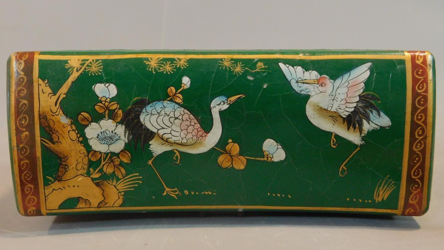 A green painted and lacquered Chinese box with floral motifs. H.12 W.28 D.11.5cm - Image 6 of 9