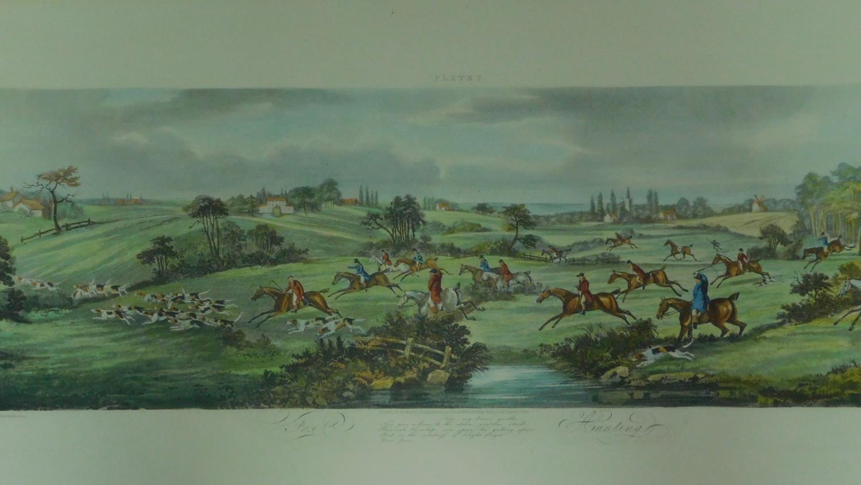 A set of four gilt framed and glazed hunting prints. 43x87cm - Image 5 of 5