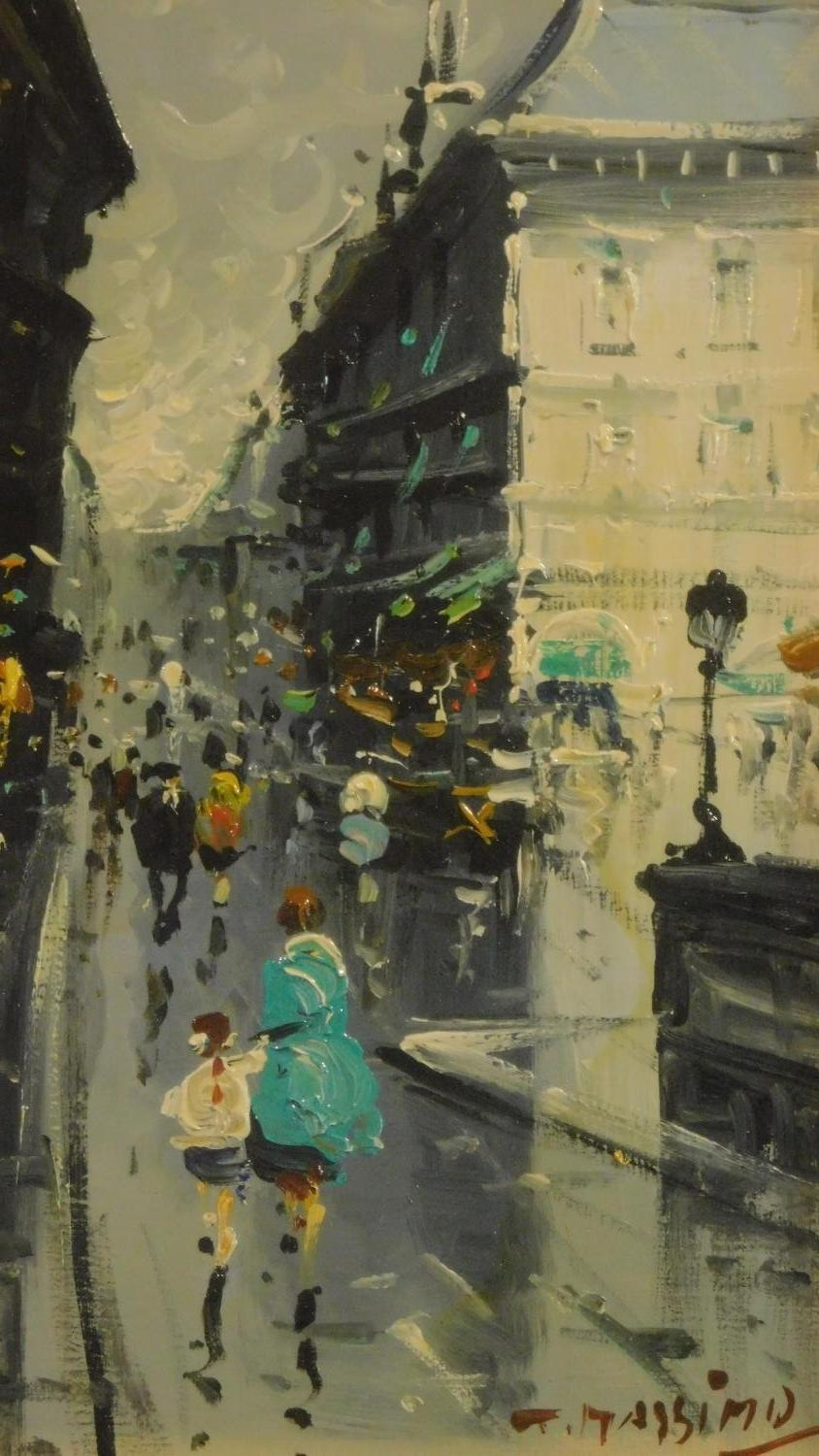 A pair of framed and glazed oils on board, continental street scenes in the rain, signed T - Image 4 of 7