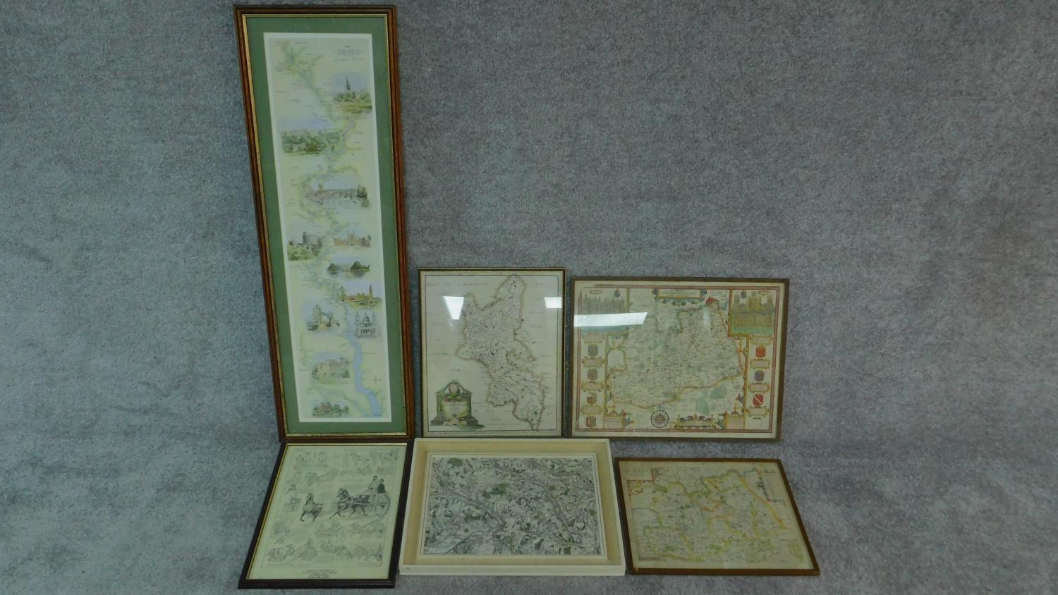 A miscellaneous collection of five framed and glazed maps and a coaching print. 106x35cm