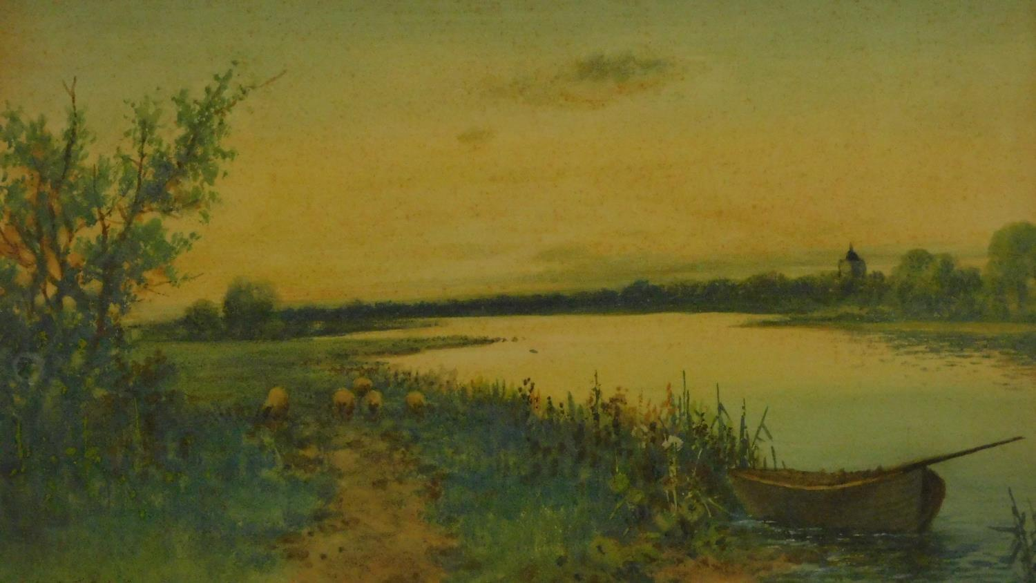 A framed and glazed watercolour, sheep on a path and boat in a riverscape, indistinctly signed. - Image 2 of 4