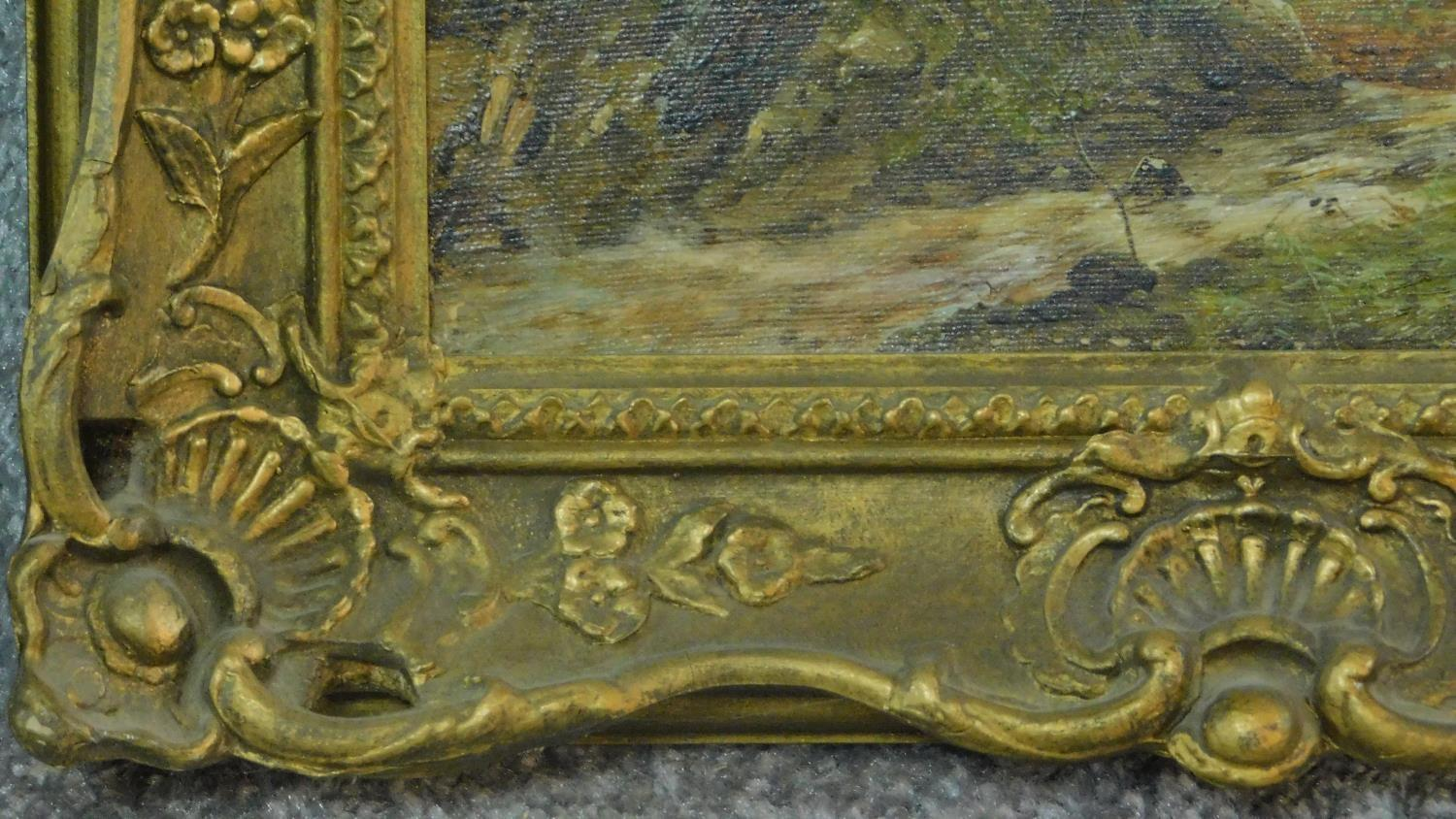 A pair of gilt framed oil paintings on canvas, Scottish landscapes, signed Theo Hines, signature and - Image 4 of 6