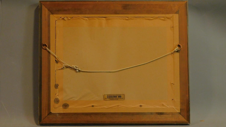 A framed oil on board, modernist landscape, indistinctly signed. 48x58cm - Image 5 of 5