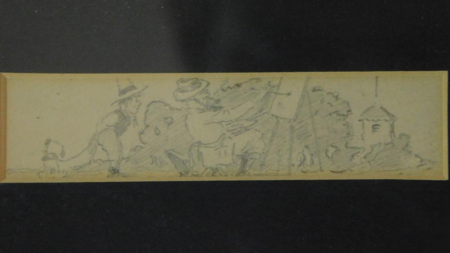 Three pencil sketches framed as one, signed, Henry Elliot Blake. 30x19cm - Image 2 of 6
