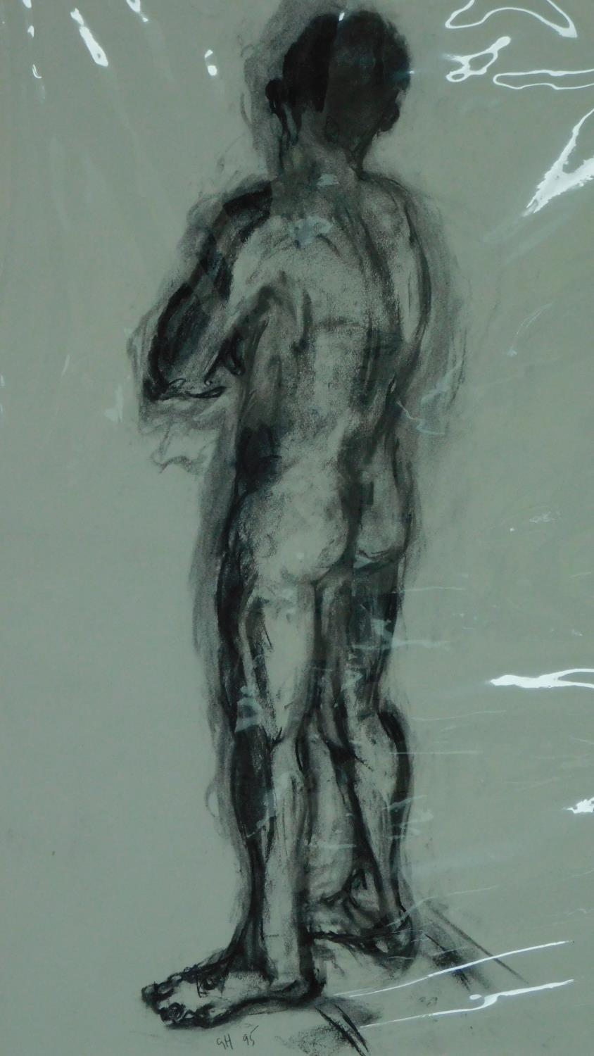 Three unframed mounted charcoal sketches, nude studies, monogrammed G H - 90x70cm (largest) - Image 4 of 5