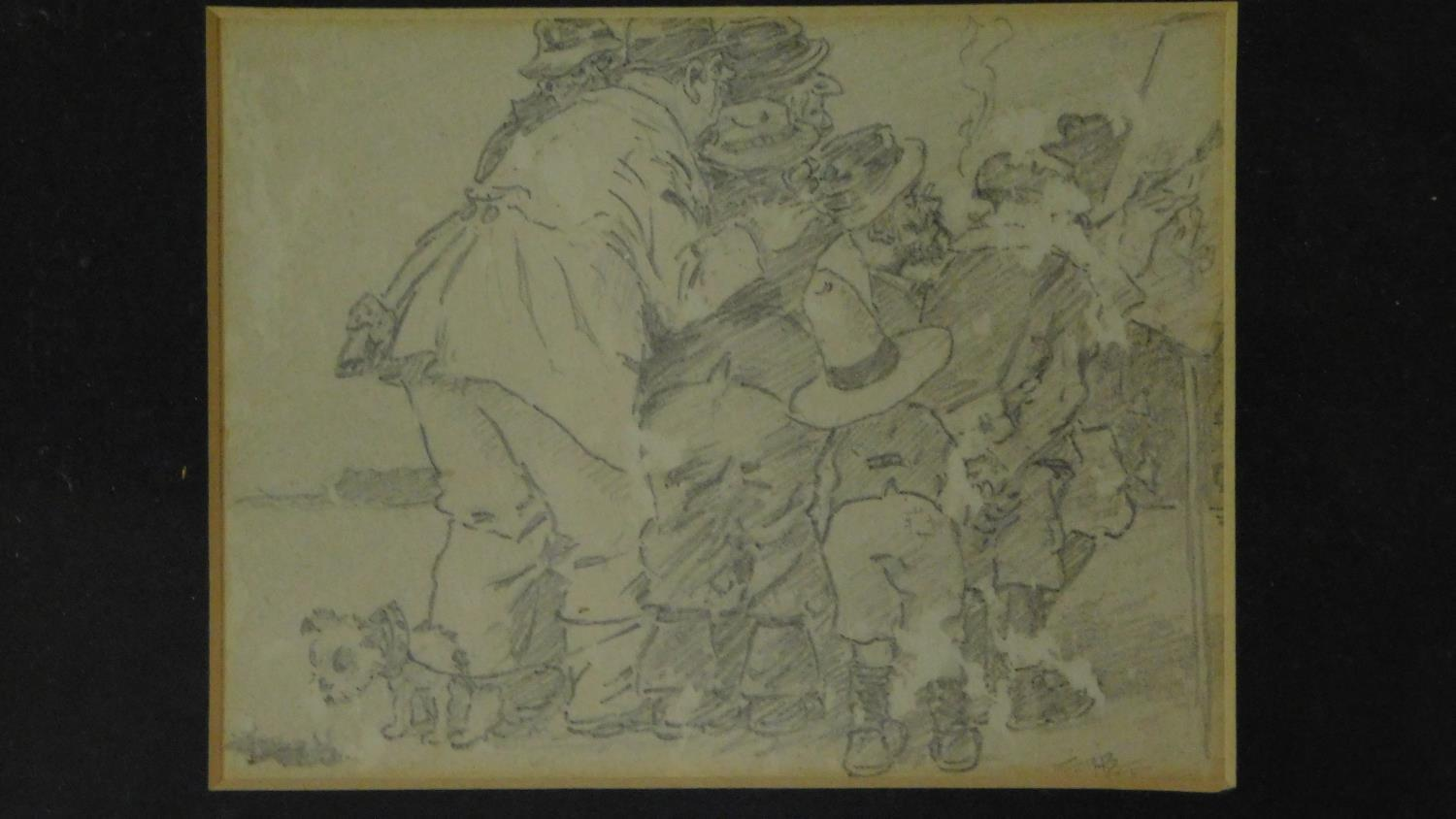 Three pencil sketches framed as one, signed, Henry Elliot Blake. 30x19cm - Image 3 of 6