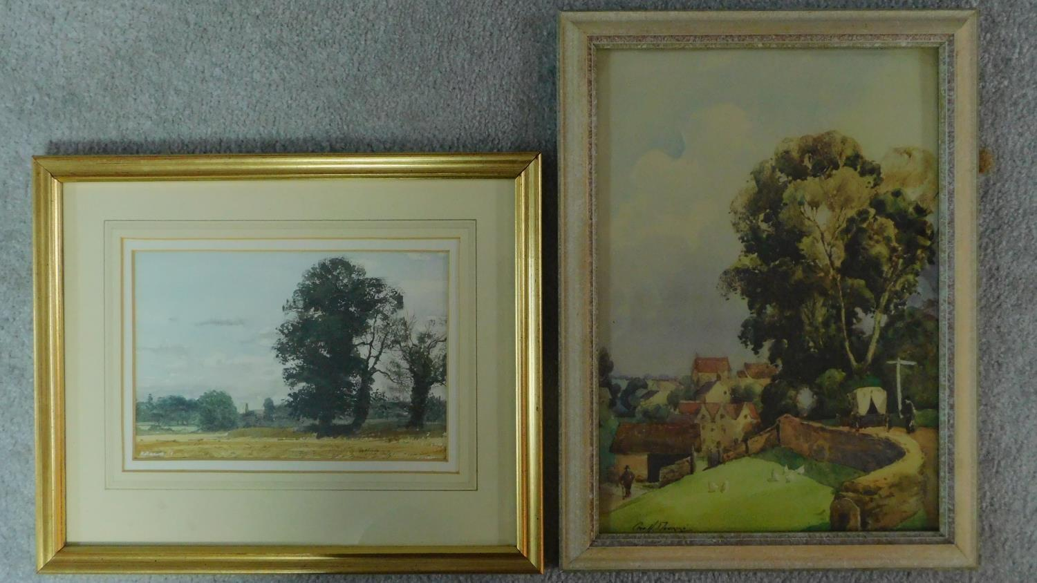 A framed and glazed watercolour, cart on a bridge in bucolic scene, indistinctly signed and a
