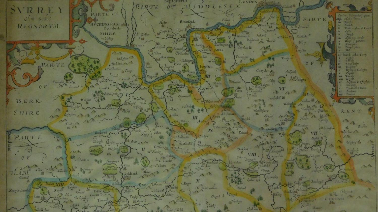 A miscellaneous collection of five framed and glazed maps and a coaching print. 106x35cm - Image 4 of 8