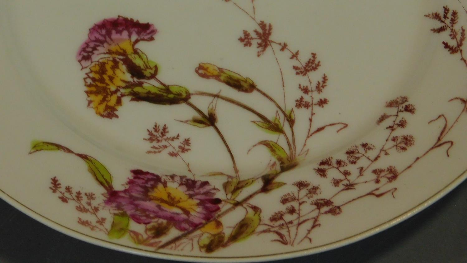 A set of 19th century floral decorated plates. 23x23cm - Image 3 of 3