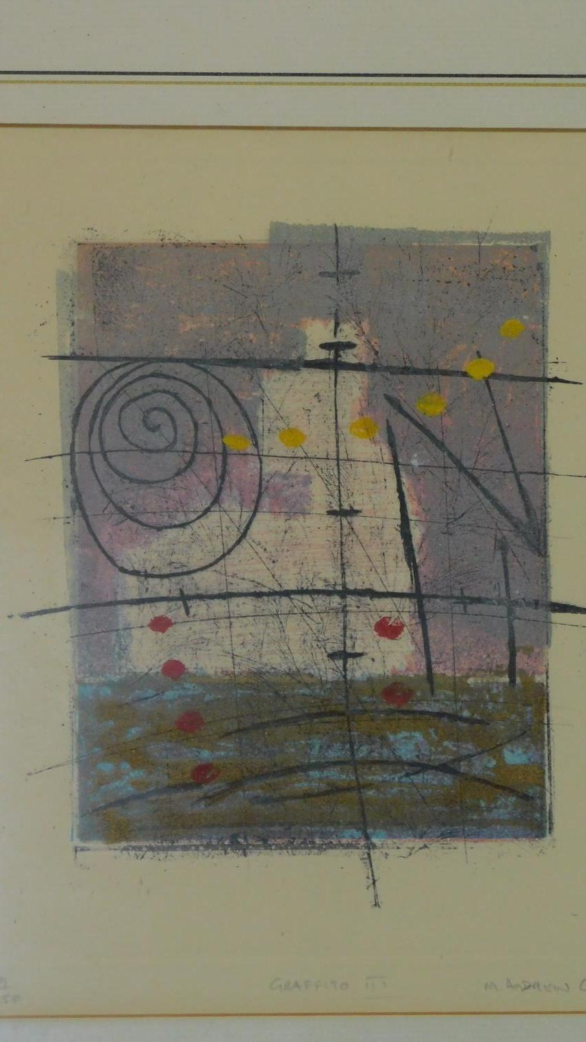 A set of three limited edition lithographs signed by the artist, graffito ll, lll and lV. 55x47cm - Image 6 of 7