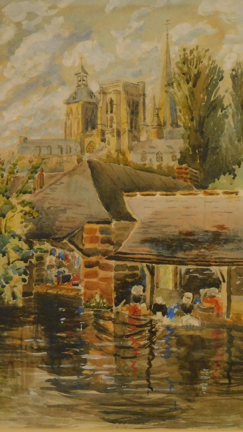A framed and glazed watercolour, cathedral by a river, and two framed oil paintings, still life - Image 3 of 8