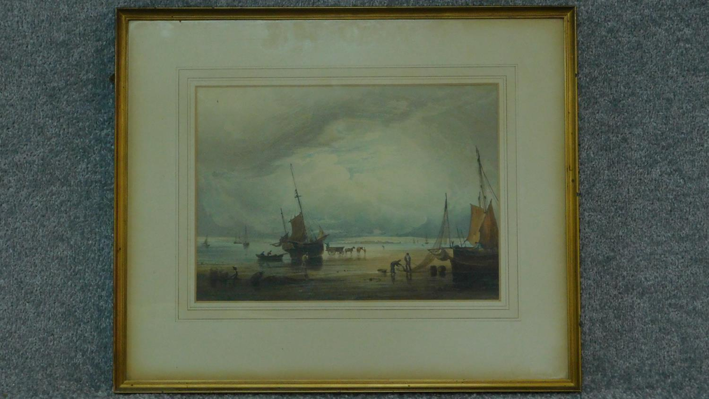 A 19th century framed and glazed print, sailing ships on beach. 54x45cm