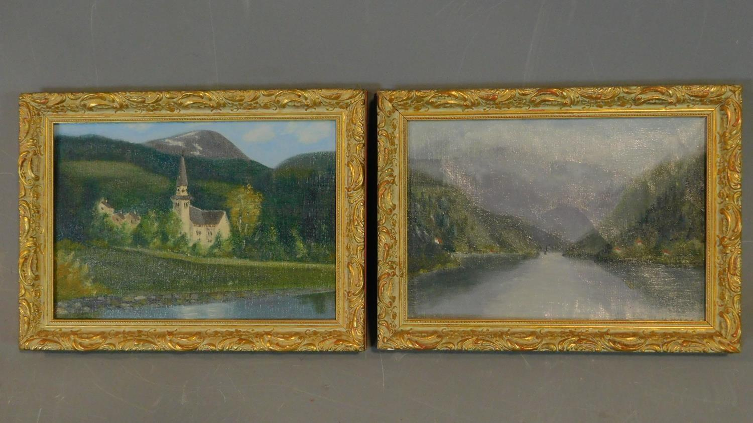 A pair of gilt framed oils on board, lake scenes. 29x21.5cm