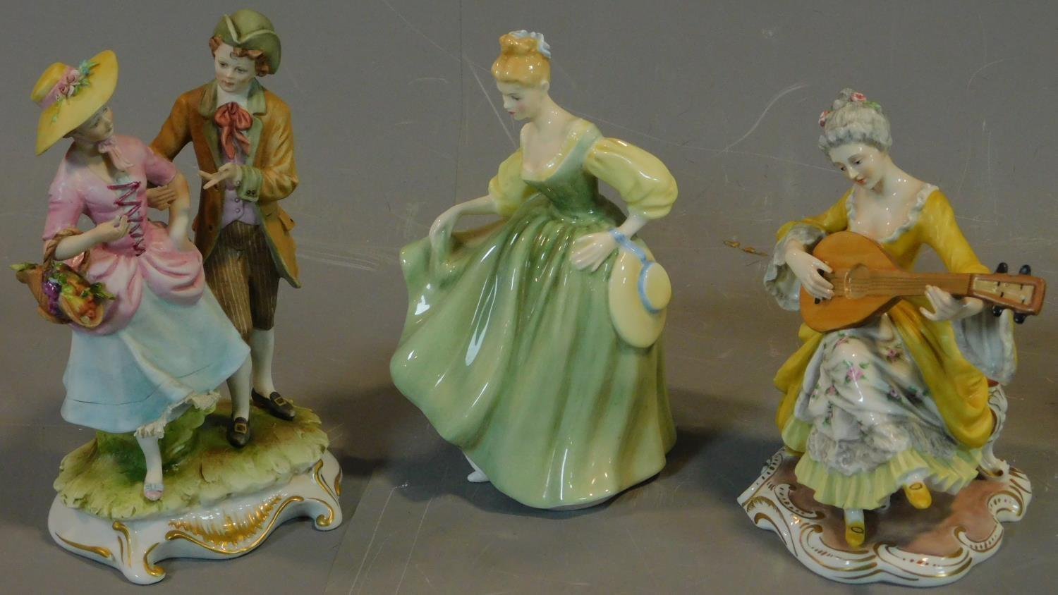 A collection of six Royal Doulton and other figures. H.20 (tallest) - Image 3 of 8
