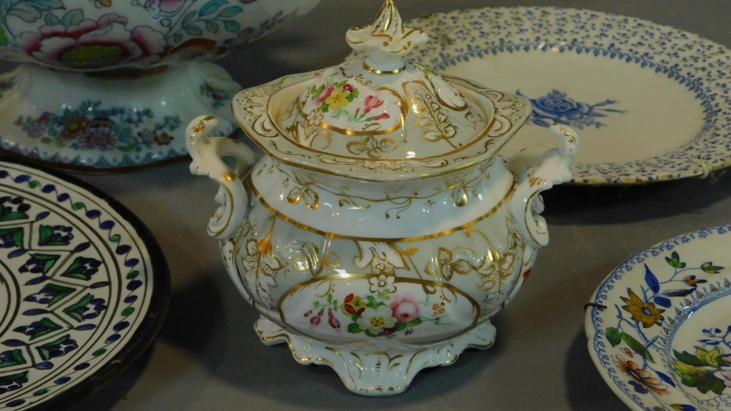 A 19th century Staffordshire ironstone tureen and cover (associated ladle) and various other - Image 15 of 18