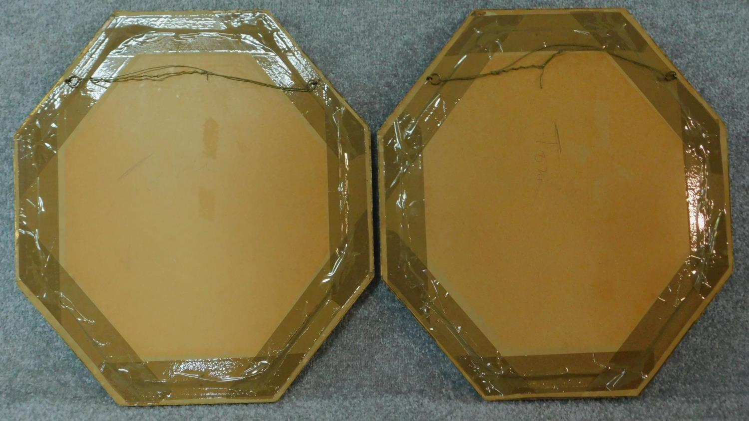 A pair of oils on board, flowers, in octagonal glazed frames. 49x44 (largest) - Image 4 of 4