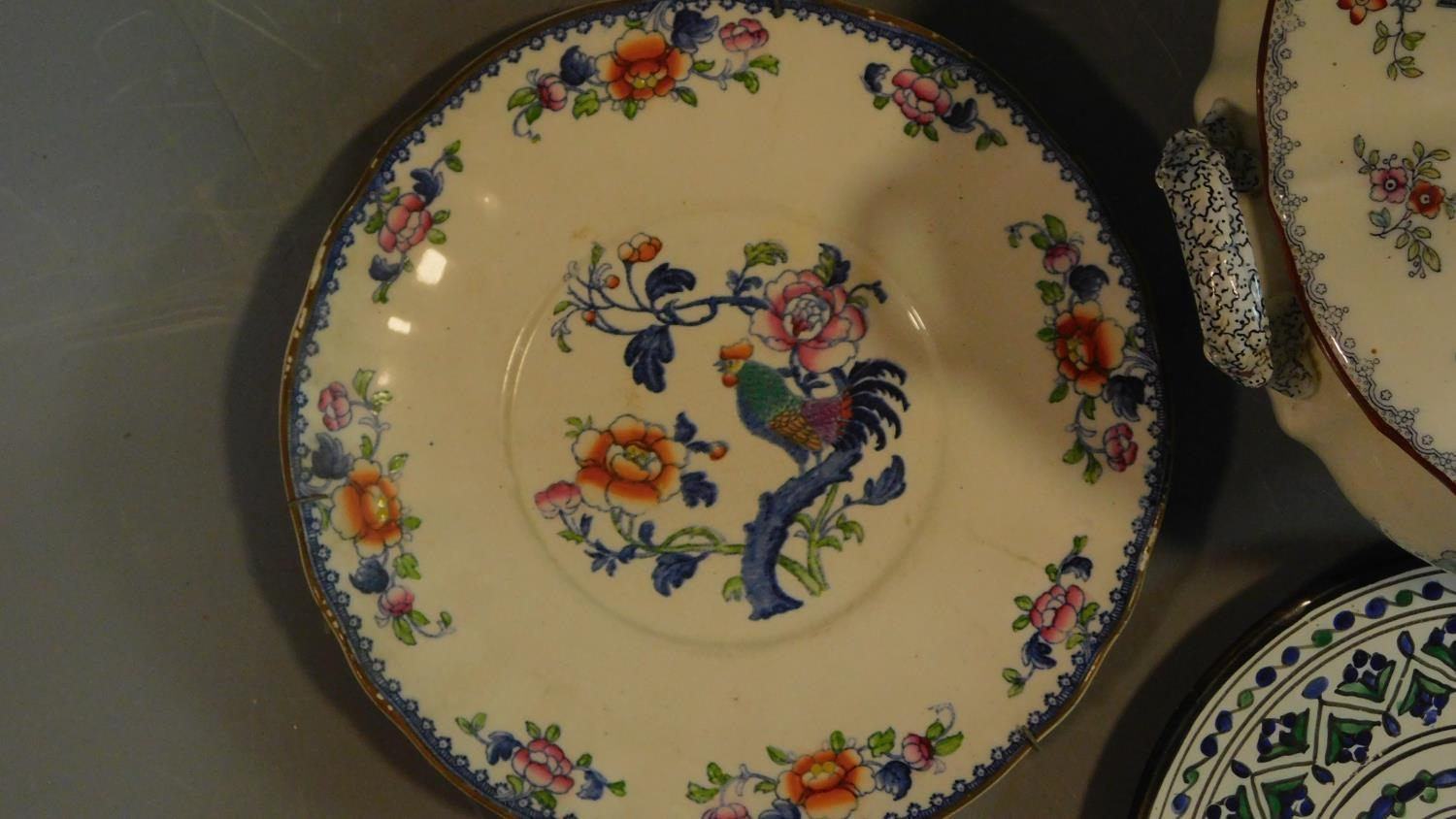 A 19th century Staffordshire ironstone tureen and cover (associated ladle) and various other - Image 7 of 18