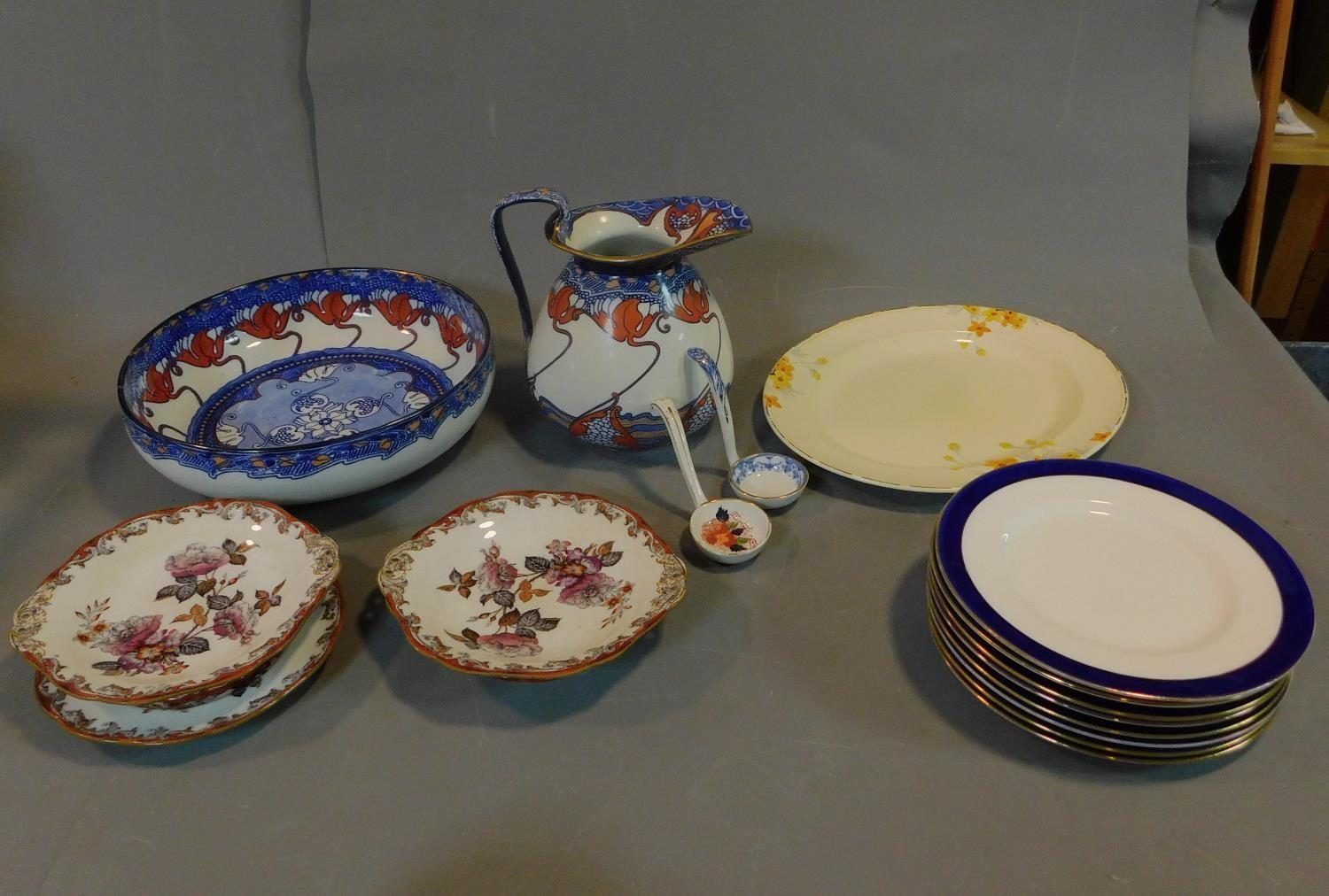 A late 19th century Art Nouveau jug and bowl and a collection of Victorian and later plates.