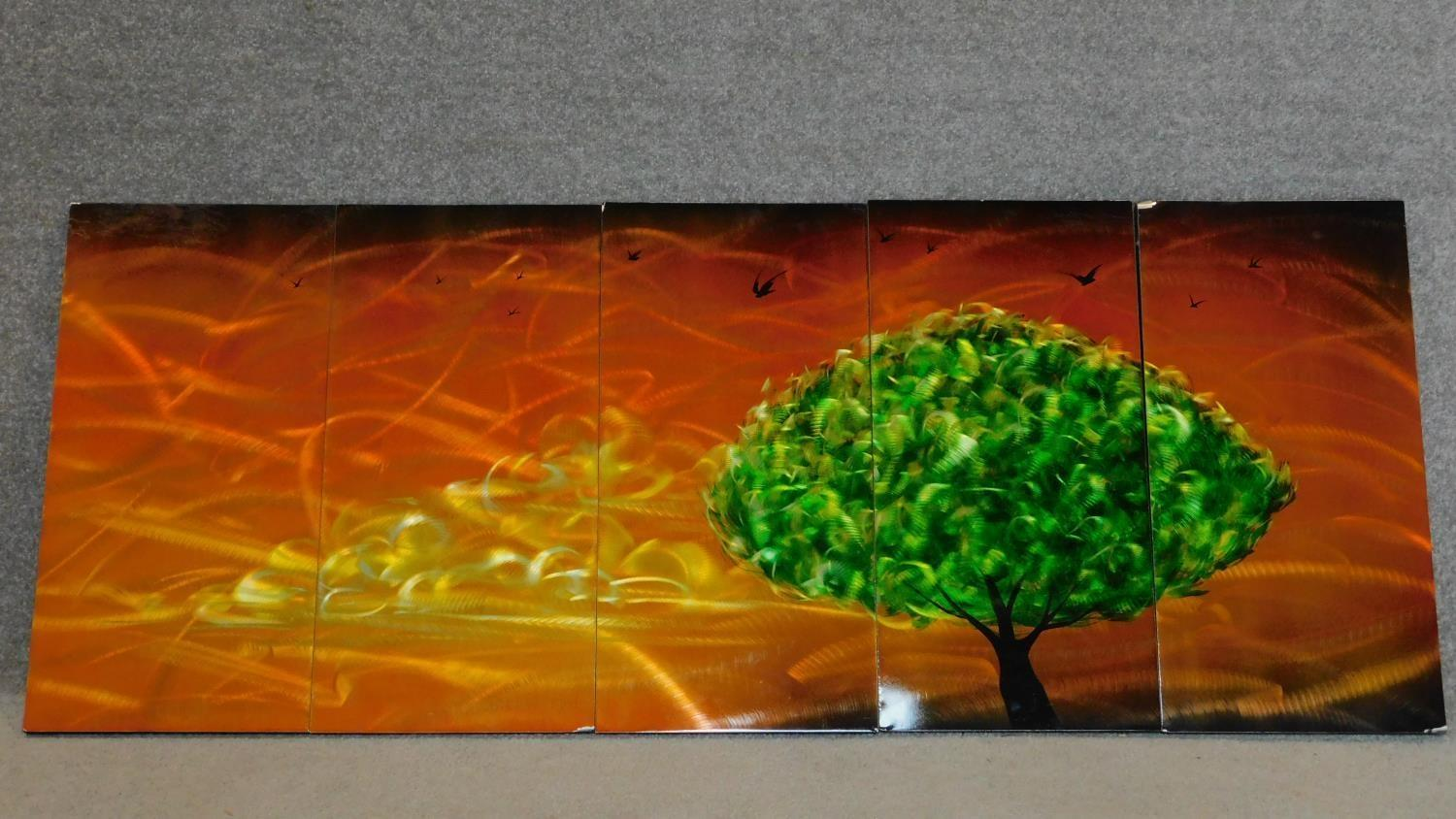 A set of five decorative lacquered panels, together depicting a green tree against an orange sky.