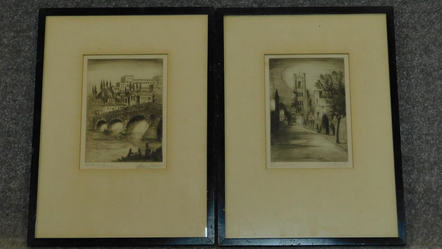 Two framed and glazed etchings, each signed by the artist. 40x30cm