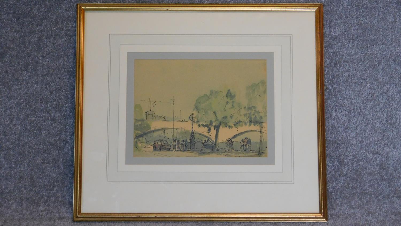 A framed ink sketch, Parisian scene. 49x54cm
