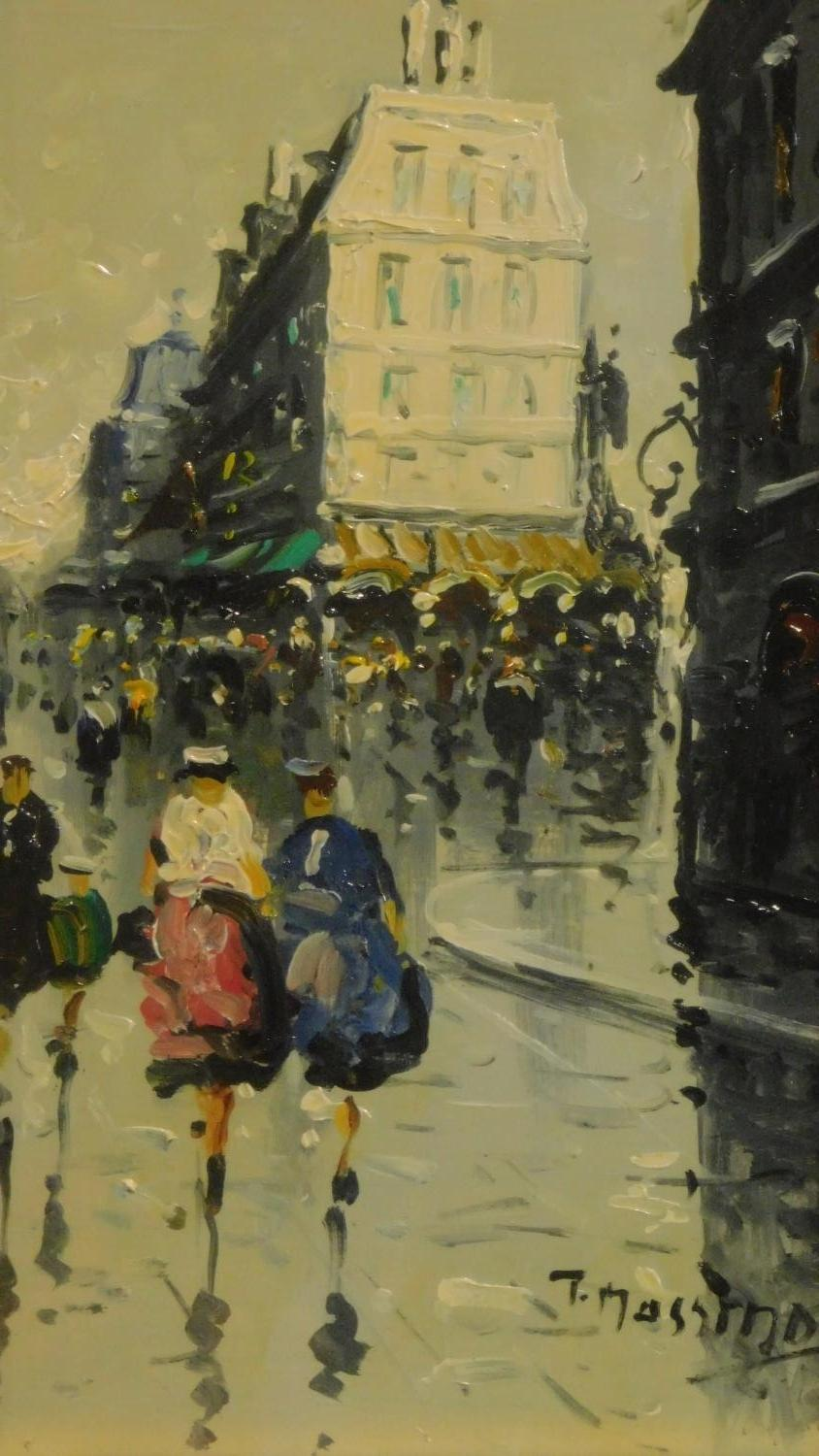 A pair of framed and glazed oils on board, continental street scenes in the rain, signed T - Image 2 of 7