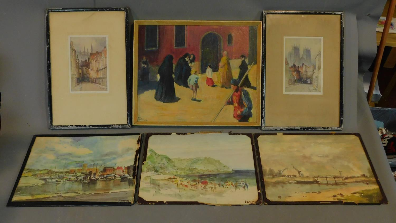 A pair of signed 19th century framed and glazed etchings, a set of three prints and an oil on board,