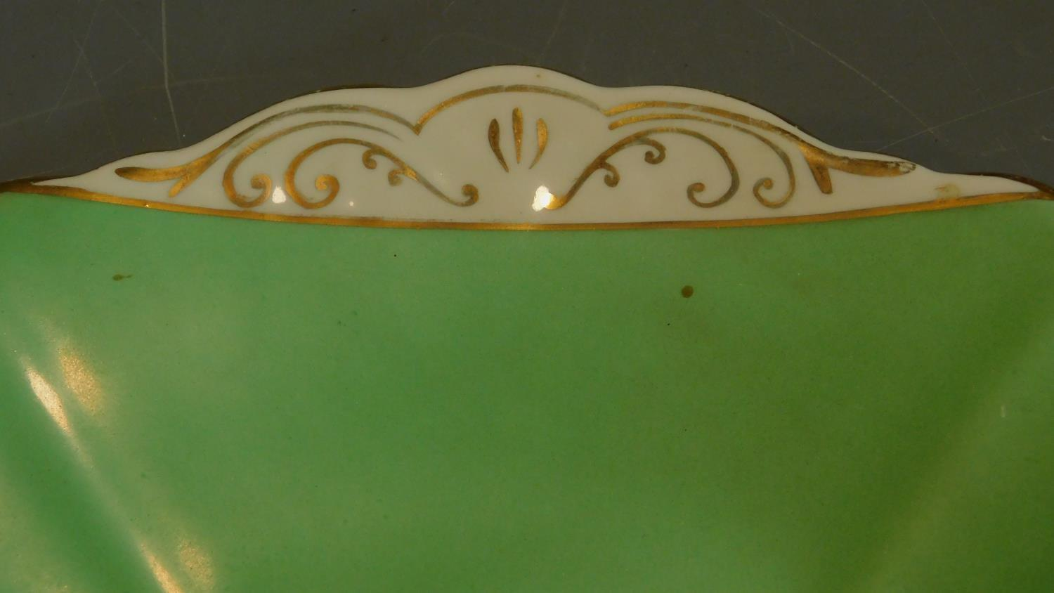 A green floral decorated tea set for six and a seven piece pink floral tea set. - Image 8 of 9