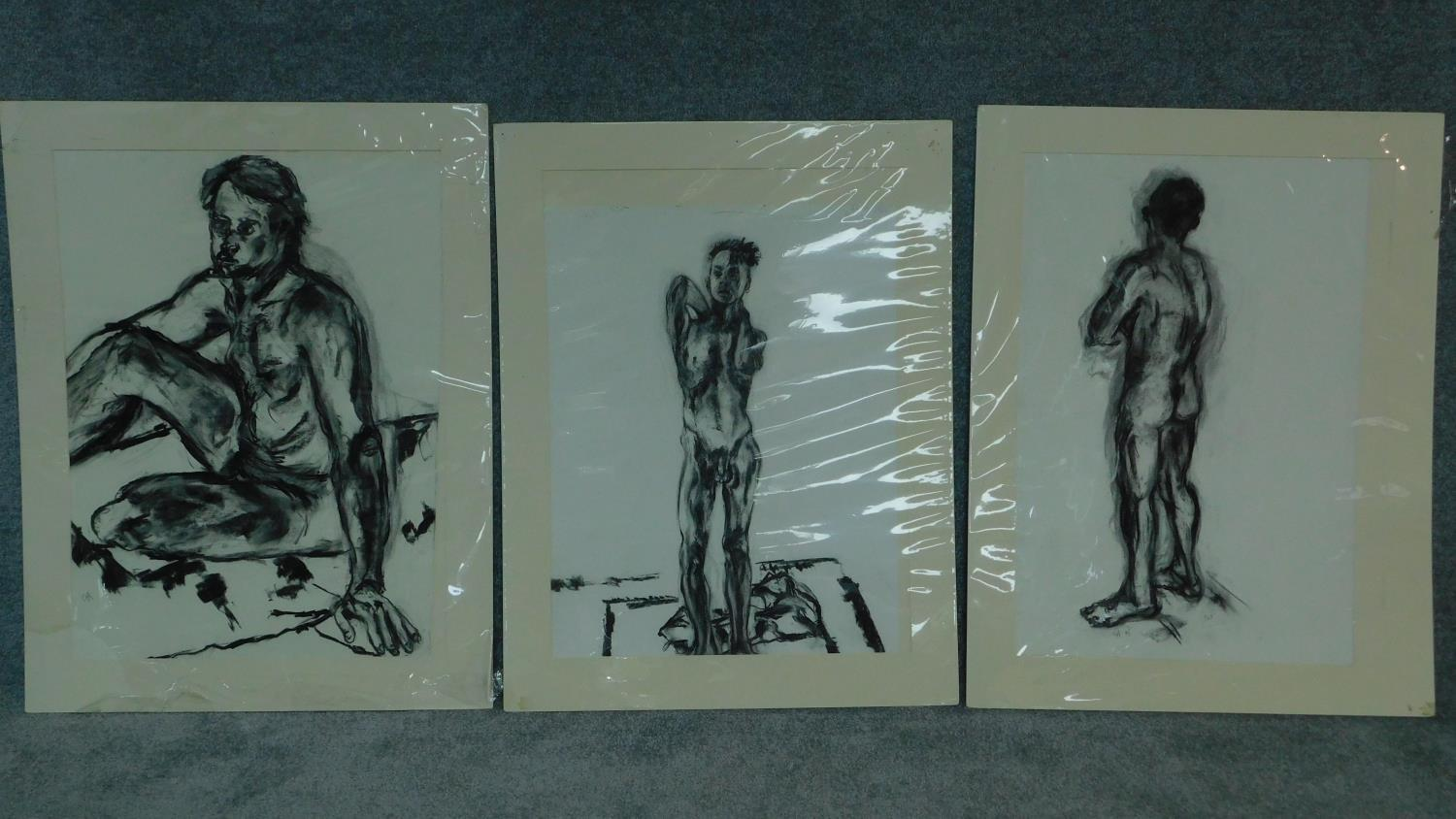 Three unframed mounted charcoal sketches, nude studies, monogrammed G H - 90x70cm (largest)