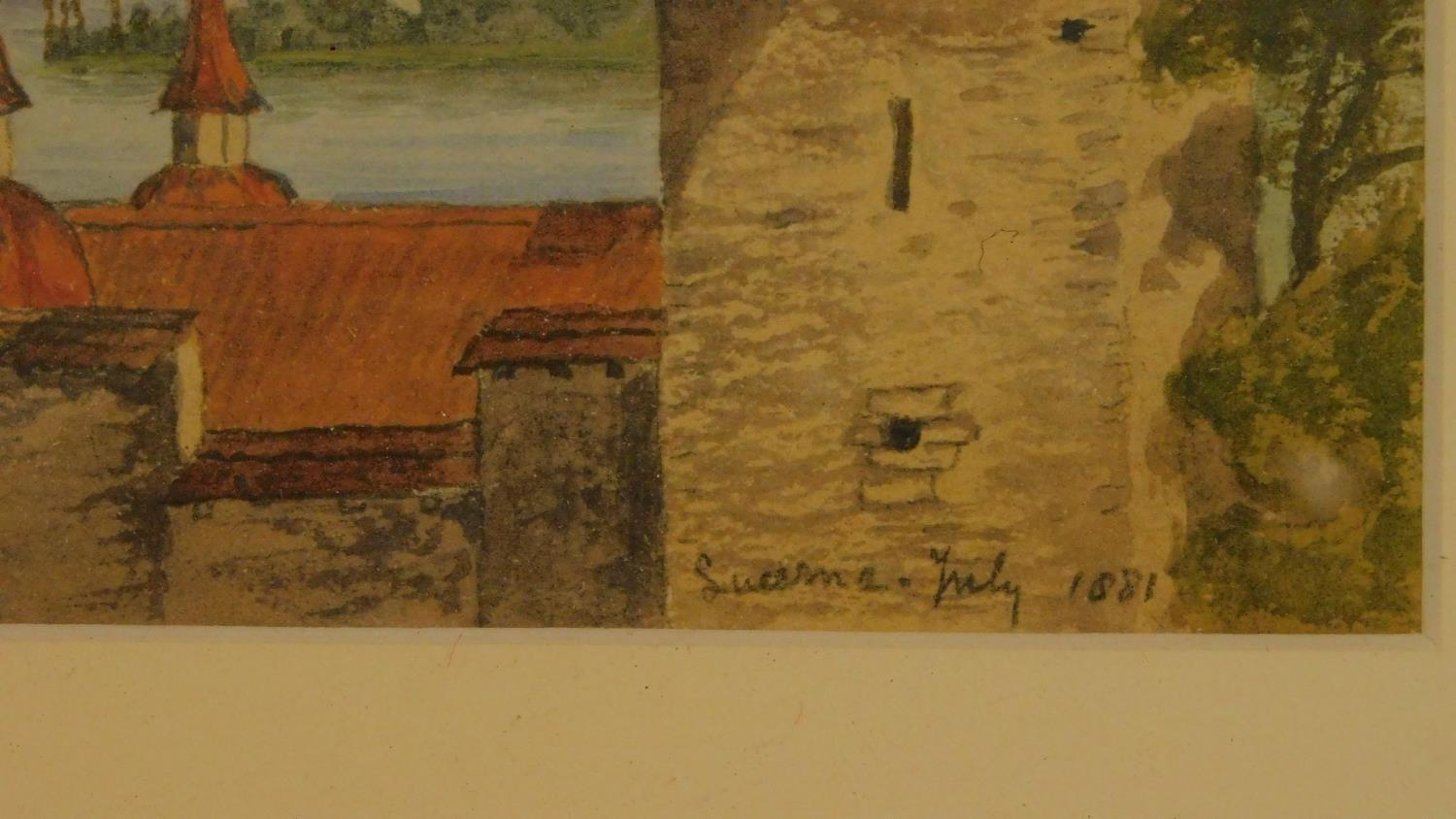 Three framed and glazed watercolours: street scene, a continental castle and farm buildings. 39x29cm - Image 3 of 7