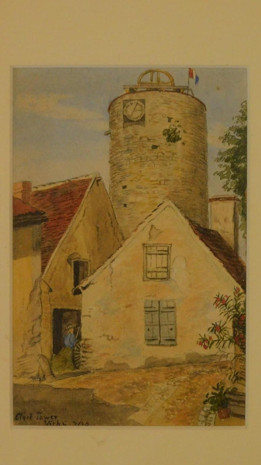 Three framed and glazed watercolours: street scene, a continental castle and farm buildings. 39x29cm - Image 4 of 7