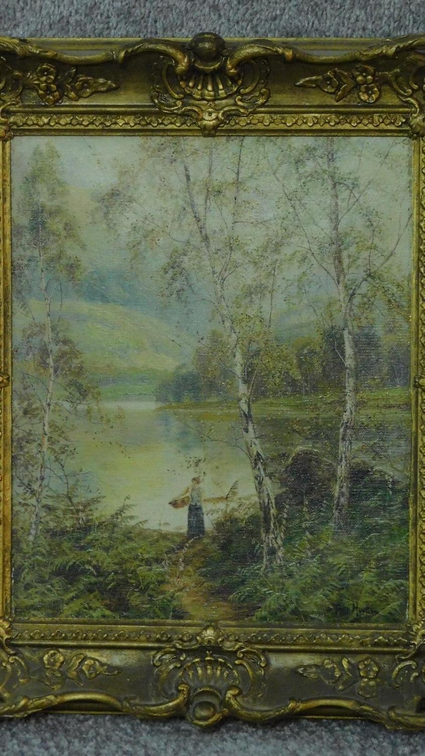 A pair of gilt framed oil paintings on canvas, Scottish landscapes, signed Theo Hines, signature and - Image 3 of 6