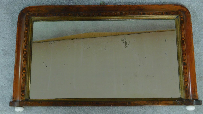 A Victorian walnut and Tunbridgeware inlaid overmantel mirror. 50x82cm