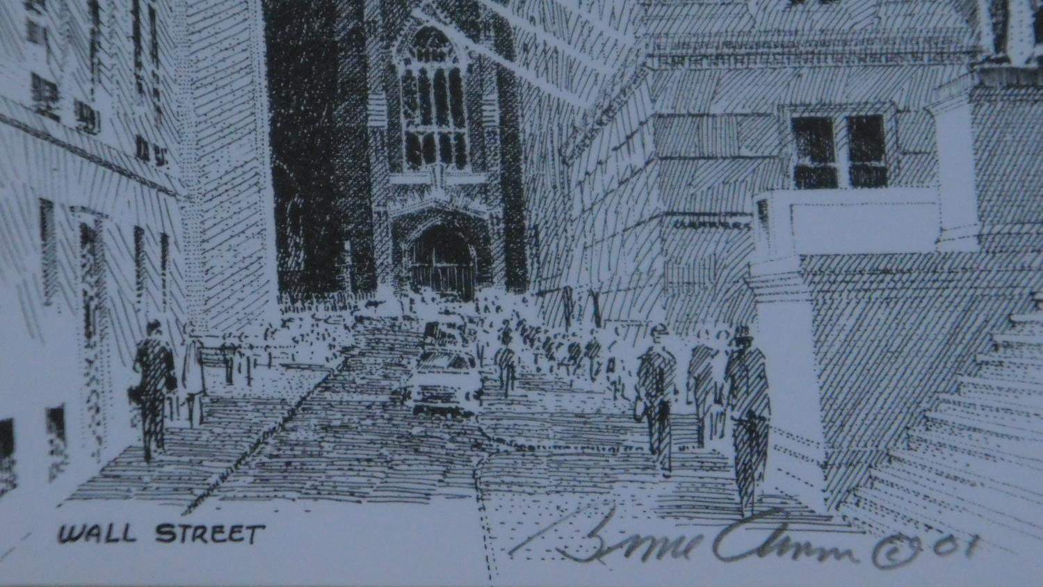 A set of three framed and glazed prints and a signed lithograph of Wall street. 28x23cm - Image 6 of 7