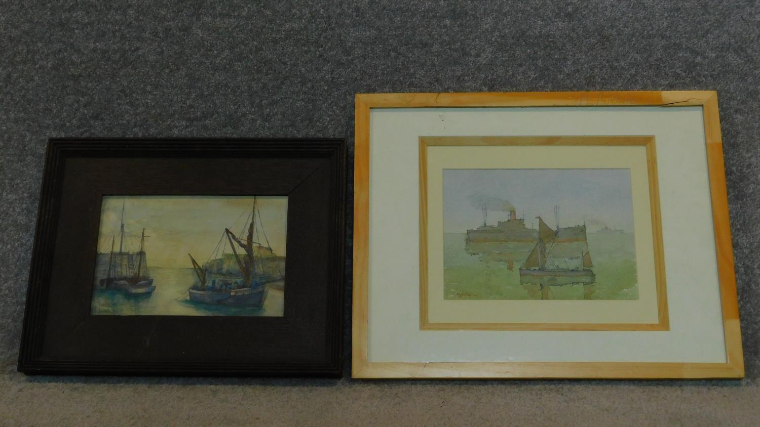 A framed and glazed watercolour, ships at sea and another similar. 49x39