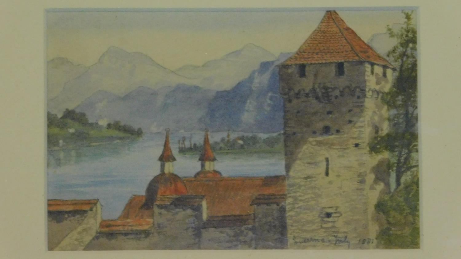 Three framed and glazed watercolours: street scene, a continental castle and farm buildings. 39x29cm - Image 2 of 7