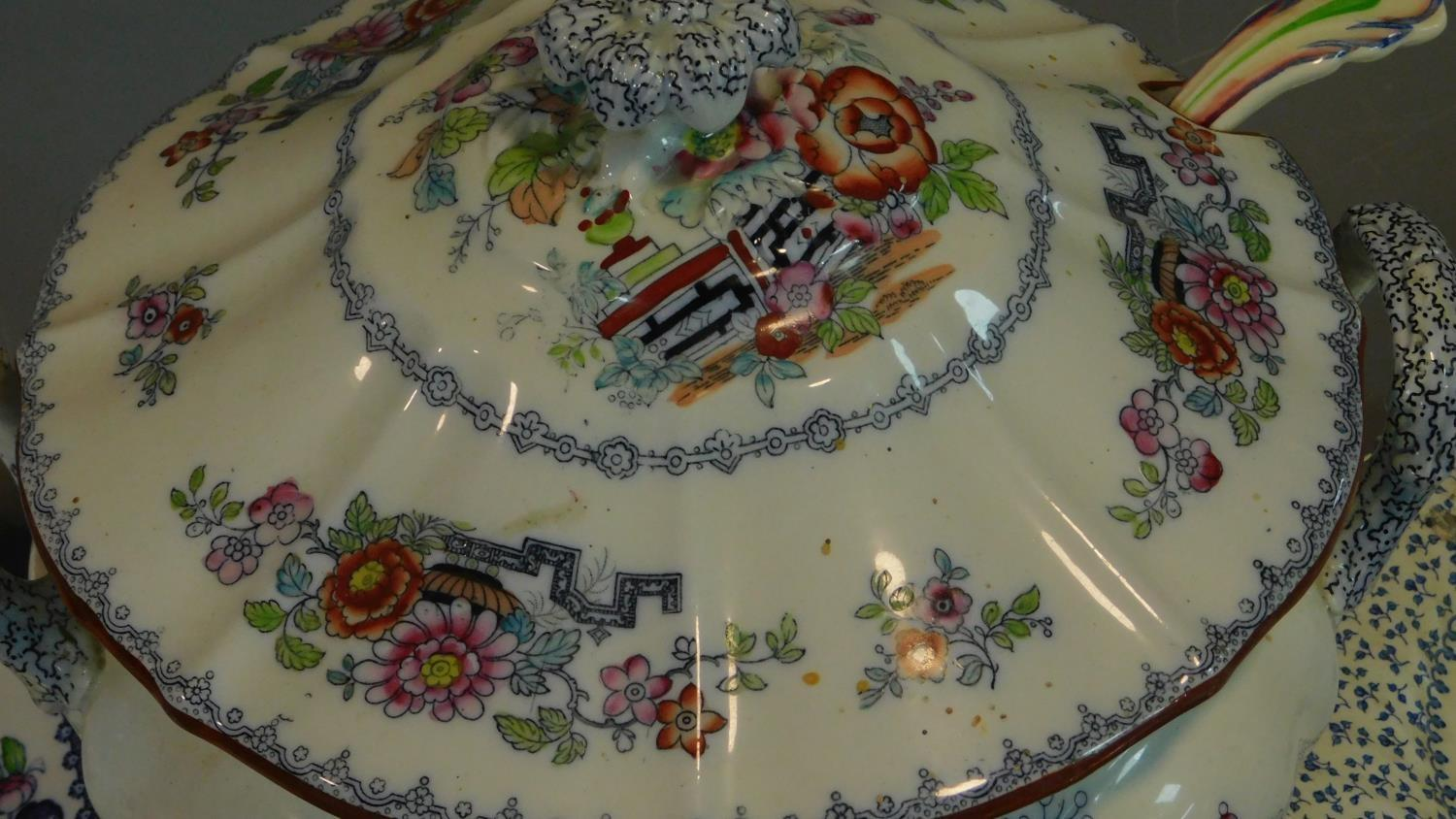 A 19th century Staffordshire ironstone tureen and cover (associated ladle) and various other - Image 10 of 18