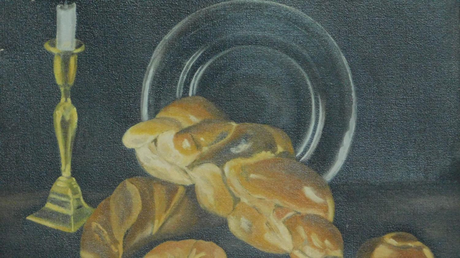 A collection of three oils on board, still life. 57x46cm - Image 3 of 5