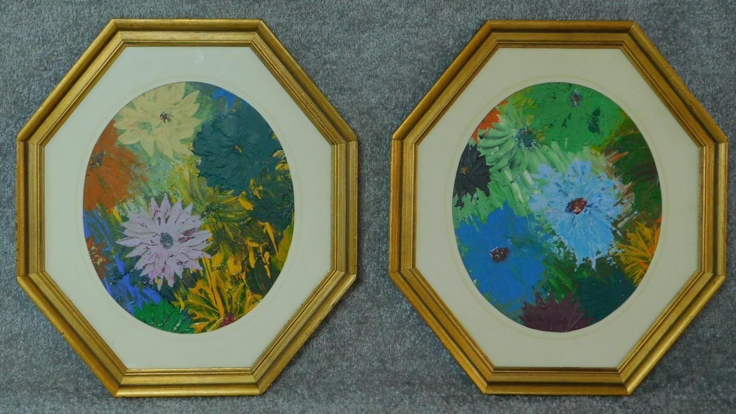 A pair of oils on board, flowers, in octagonal glazed frames. 49x44 (largest)
