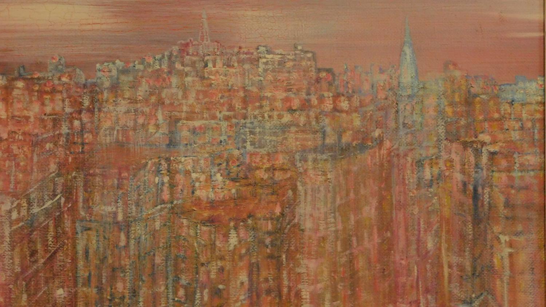 A framed oil on board, modernist landscape, indistinctly signed. 48x58cm - Image 2 of 5