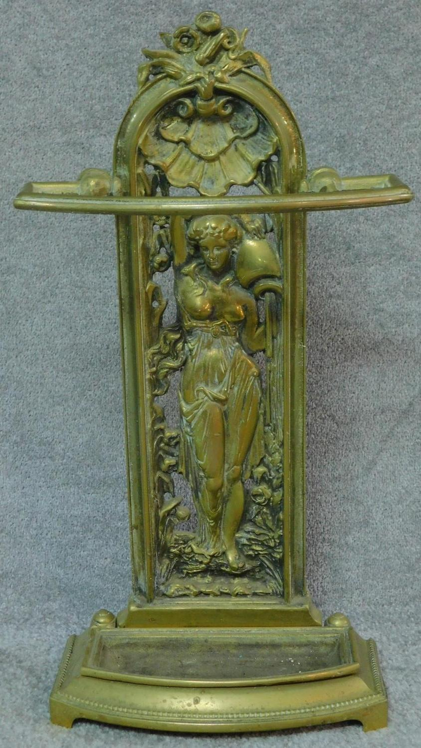 A cast metal Colebrookdale style hall stand and a collection of walking sticks. H.93 - Image 2 of 7