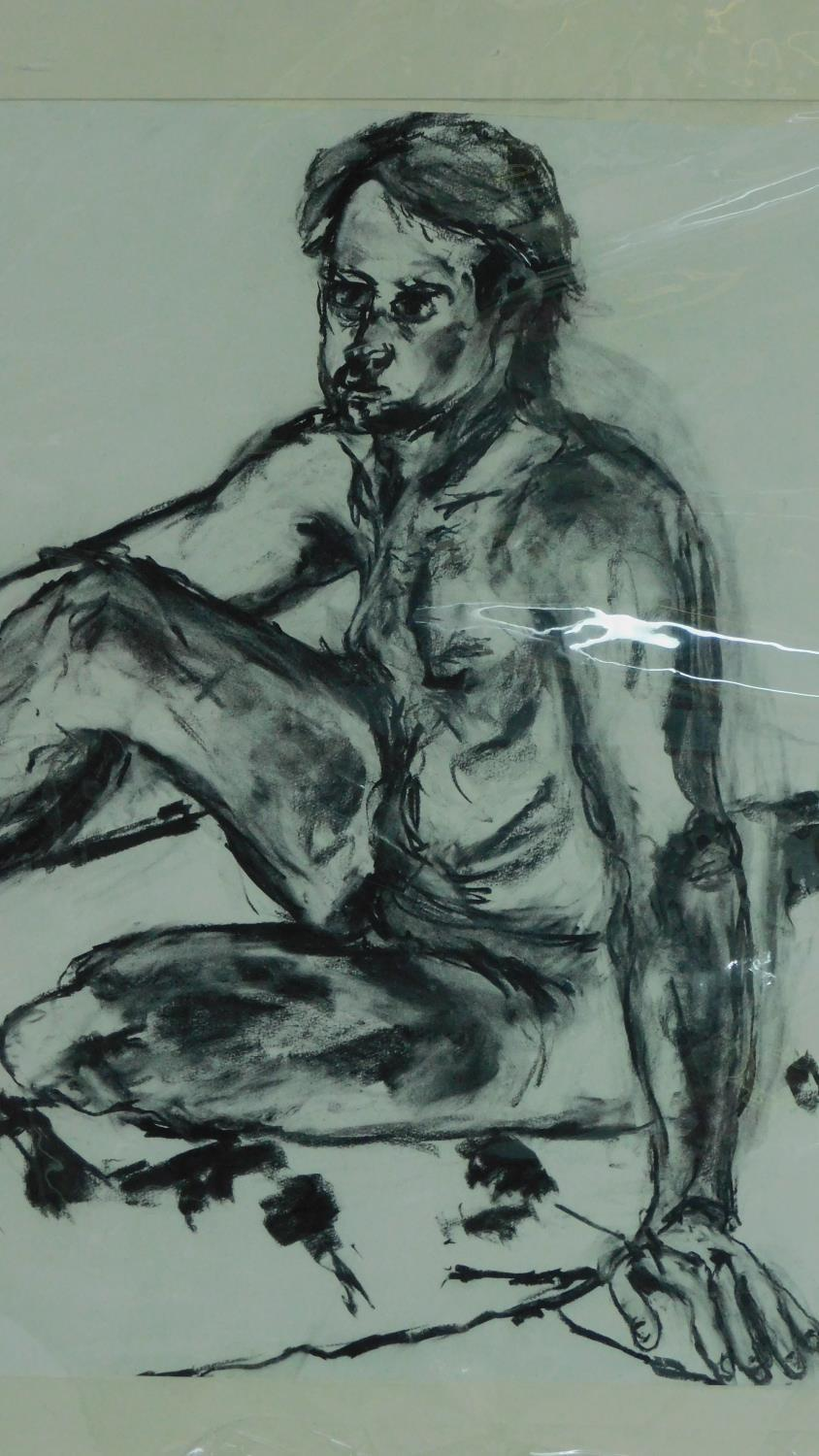 Three unframed mounted charcoal sketches, nude studies, monogrammed G H - 90x70cm (largest) - Image 3 of 5