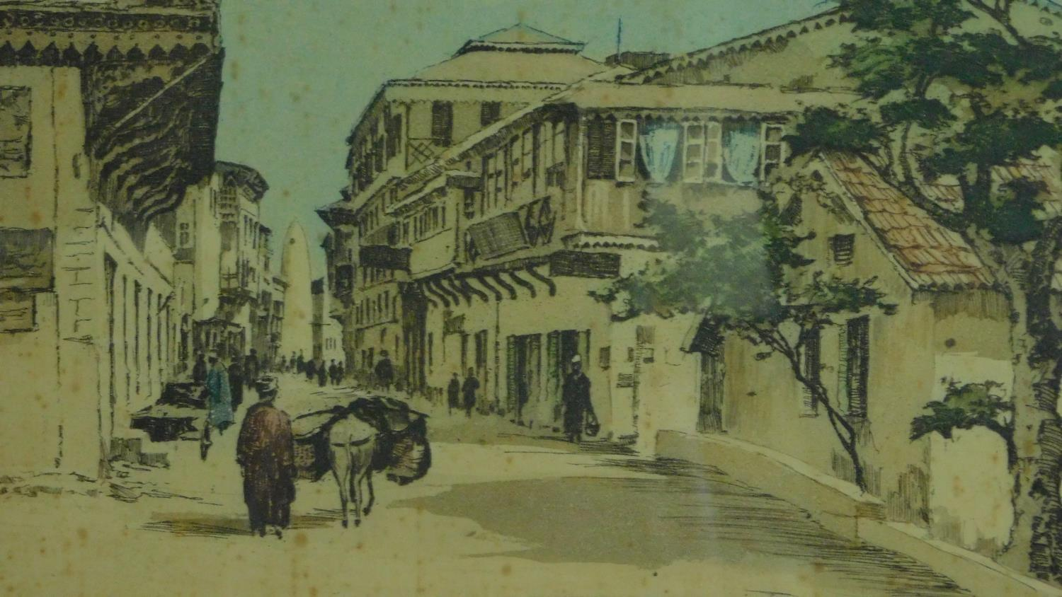 A signed etching of a continental street scene, a similar of a ship at sea and a collection of other - Image 6 of 8