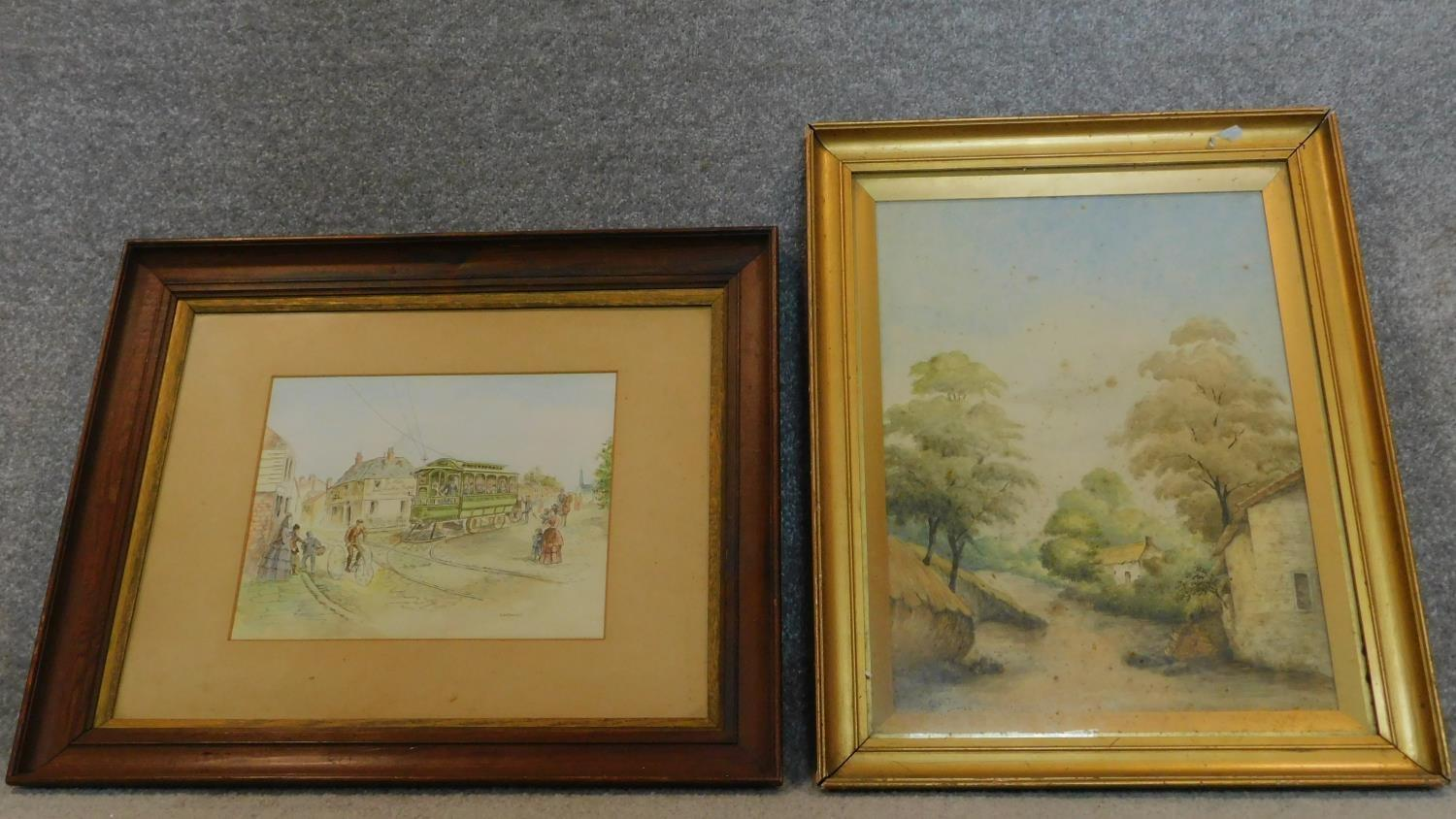 A 19th century framed and glazed watercolour country landscape and a framed pen and ink drawing.
