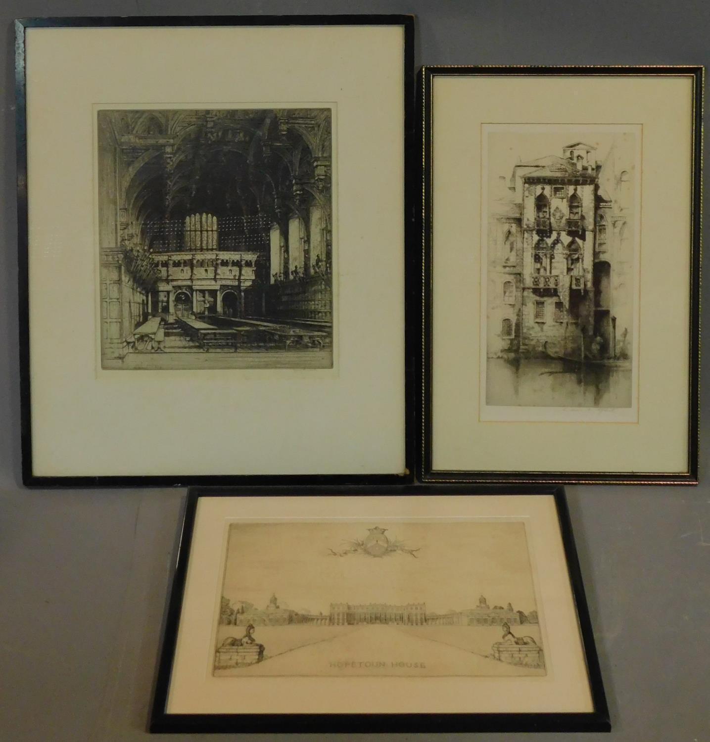 A 19th century signed lithograph of a church interior, another of a Venice canal and a 19th