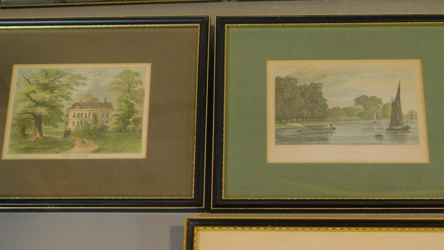 A miscellaneous collection of eleven framed and glazed prints of avian and architectural interest. - Image 5 of 7